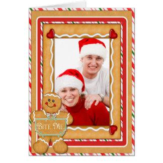 "Gingerbread Man ""Bite Me"" Photo Greeting Greeting Cards"