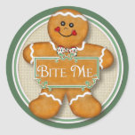 Gingerbread Man - Bite Me Round Sticker