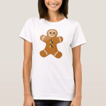 Gingerbread Man Blue &Yellow Awareness Ribbons T-Shirt