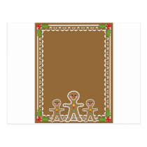 Gingerbread Man Border Postcard