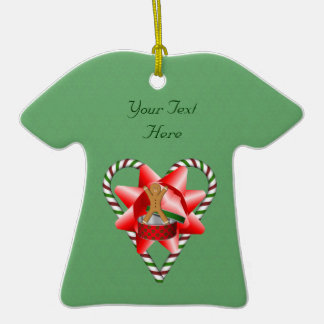 Gingerbread Man Candy Cane Heart Holiday Ornament