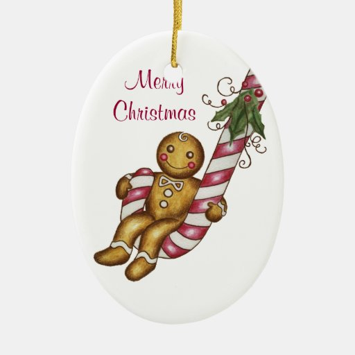Gingerbread Man Candy Cane Ornament