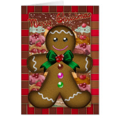 Gingerbread Man Christmas Card - Merry Christmas at Zazzle