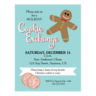 Gingerbread Man, Christmas Cookie Exchange Party Postcard