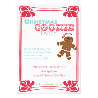 Gingerbread Man Christmas Cookie Party Invitation Invites