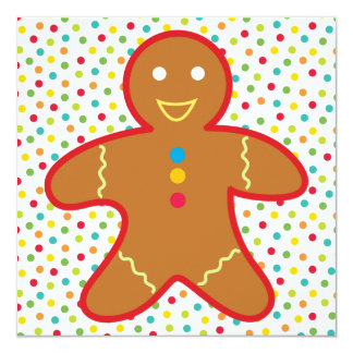Gingerbread Man Christmas Cookie Party Invite