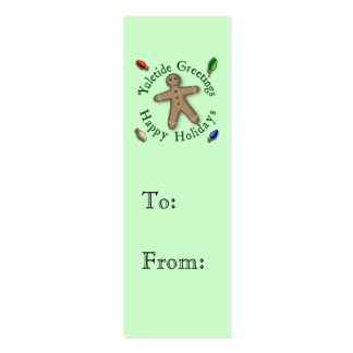 Gingerbread Man Christmas Gift Tag Double-Sided Mini Business Cards (Pack Of 20)