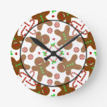 Gingerbread man Christmas Monograme Round Clock
