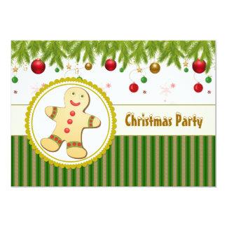 "Gingerbread man Christmas Party Invitation 5"" X 7"" Invitation Card"