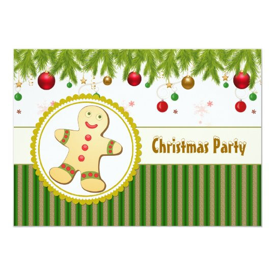 Gingerbread man Christmas Party Invitation