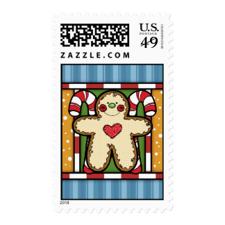 Gingerbread Man Christmas Postage Stamps