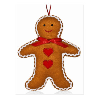 Gingerbread man Christmas tree decoration Postcard