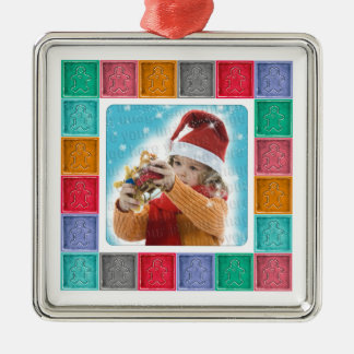 Gingerbread Man Colorful Photo Template Ornament
