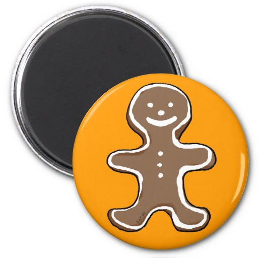 Gingerbread man cookie 2 inch round magnet