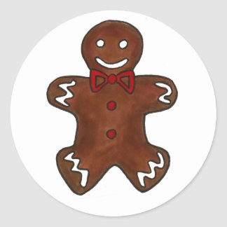 Gingerbread Man Cookie Classic Round Sticker