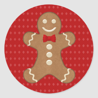 Gingerbread Man Cookie Holiday Classic Round Sticker