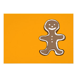 Gingerbread man cookie personalized invites