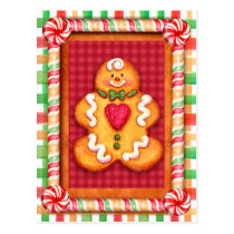 Gingerbread Man Cookie Postcard