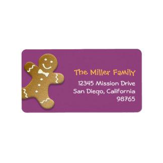 Gingerbread man cookie purple return address personalized address label