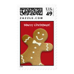 Gingerbread man cookie red Merry Christmas holiday Postage Stamps