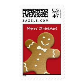 Gingerbread man cookie red Merry Christmas holiday Postage Stamp