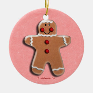Gingerbread Man Cookie Red Christmas Tree Ornament