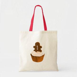 Gingerbread man cupcake tote tote bags