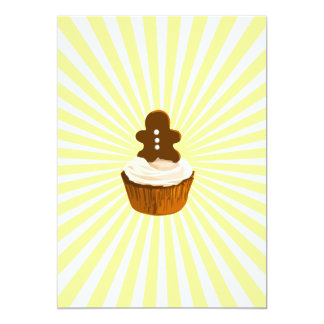 Gingerbread man cupcake with blast line pattern 5x7 paper invitation card