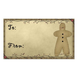 Gingerbread Man Design 1 - Holiday Gift Tags Double-Sided Standard Business Cards (Pack Of 100)