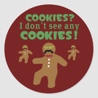 Gingerbread Man Disguise Classic Round Sticker