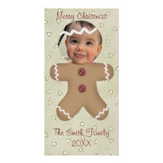 Gingerbread Man Face Custom Photo Card