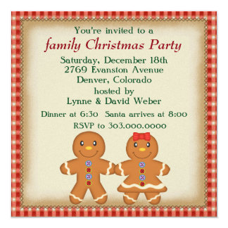 Gingerbread Man Family Christmas Party Card