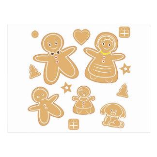 Gingerbread man family postcard