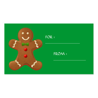 Gingerbread man Gift Tag - Customized Double-Sided Standard Business Cards (Pack Of 100)