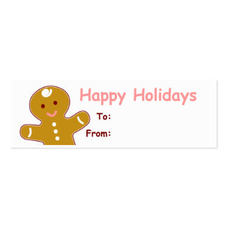 Gingerbread Man Gift Tags Double-Sided Mini Business Cards (Pack Of 20)