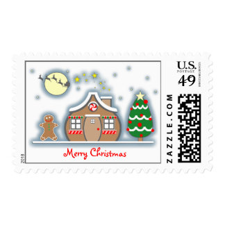 Gingerbread Man & Gingerbread House Snow Scene Postage Stamp