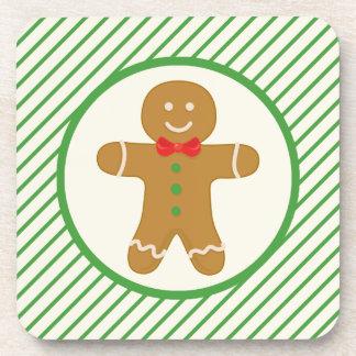 Gingerbread Man; Green Diagonal Stripes Coaster
