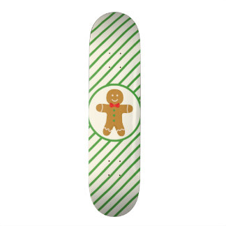 Gingerbread Man; Green Diagonal Stripes Custom Skate Board