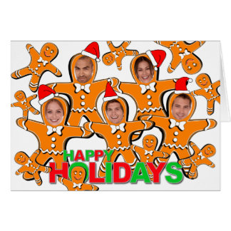 Gingerbread Man Happy Holidays Add Photo Card 1