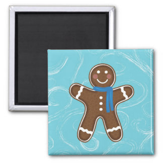 Gingerbread Man Happy Holidays Winter 2 Inch Square Magnet