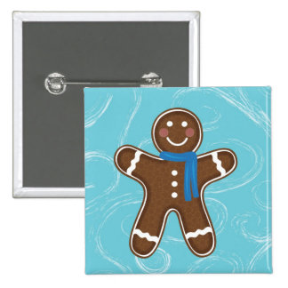 Gingerbread Man Happy Holidays Winter Buttons