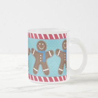 Gingerbread Man Happy Holidays Winter Frosted Glass Coffee Mug