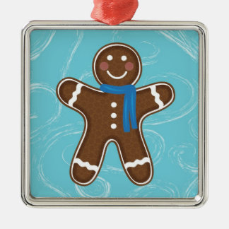 Gingerbread Man Happy Holidays Winter Metal Ornament