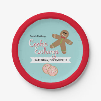 Gingerbread Man, Holiday Cookie Exchange Party Paper Plate