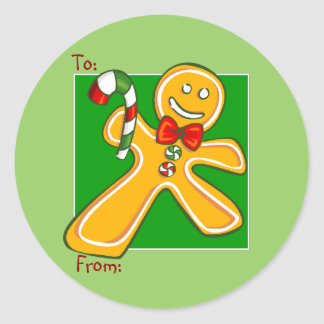 Gingerbread Man Holiday Gift Tag Sticker