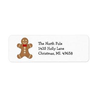 Gingerbread Man Holiday Return Address Labels