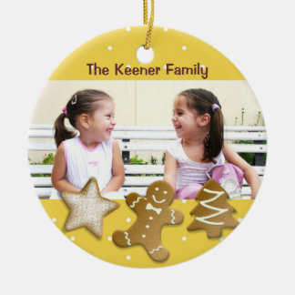 Gingerbread man holiday sugar cookies photo yellow Double-Sided ceramic round christmas ornament