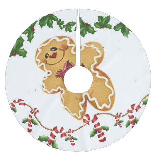 Gingerbread Man, Holly and Candy Cane  Tree Skirt