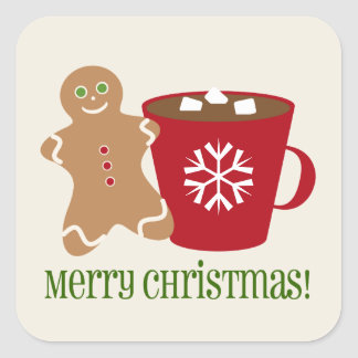 Gingerbread Man & Hot Chocolate Christmas Sticker