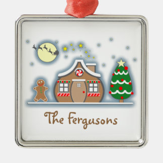 Gingerbread Man & House Snow Scene Christmas Metal Ornament